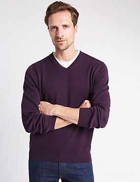 Pure Cotton V Neck Jumper