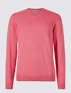 Pure Cotton V-Neck Jumper, DUSKY ROSE, catlanding