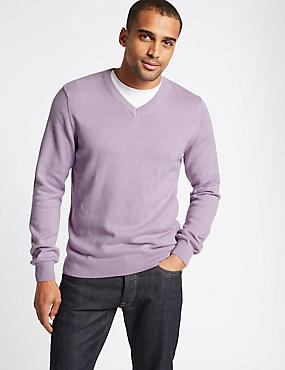 Pure Cotton V-Neck Jumper, LILAC, catlanding