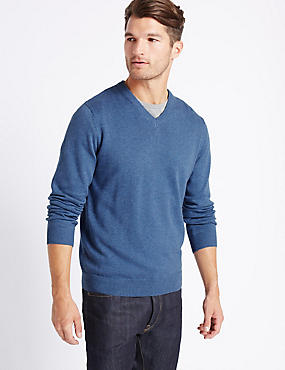 Pure Cotton V-Neck Jumper, LIGHT DENIM, catlanding