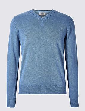 Pure Cotton V-Neck Jumper, MID BLUE, catlanding