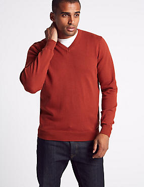 Pure Cotton V-Neck Jumper, BURNT ORANGE, catlanding