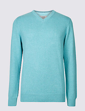 Pure Cotton V-Neck Jumper, SOFT TURQUOISE, catlanding