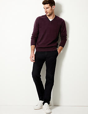 Pure Cotton V-Neck Jumper, OXBLOOD, catlanding