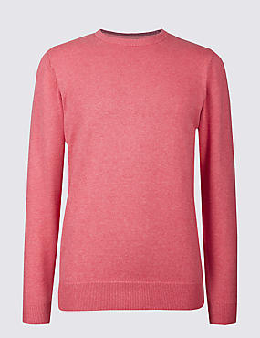 Pure Cotton Crew Neck Jumper, DUSKY ROSE, catlanding