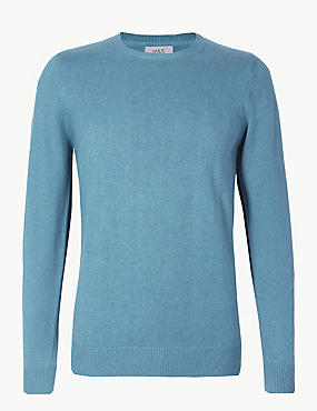 Pure Cotton Crew Neck Jumper, DUSTY BLUE, catlanding