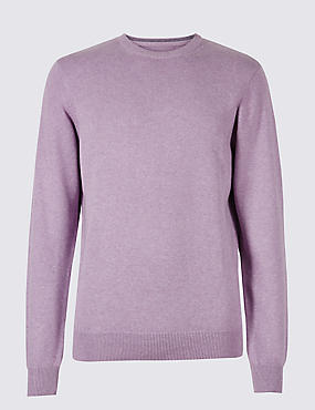 Pure Cotton Crew Neck Jumper, LILAC, catlanding