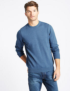Pure Cotton Crew Neck Jumper, LIGHT DENIM, catlanding