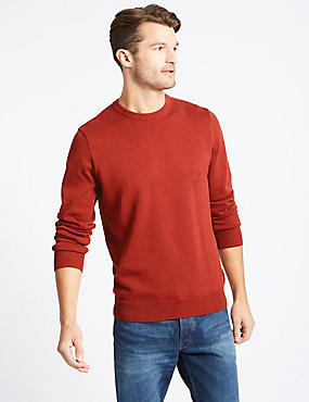 Pure Cotton Crew Neck Jumper, DARK ORANGE, catlanding