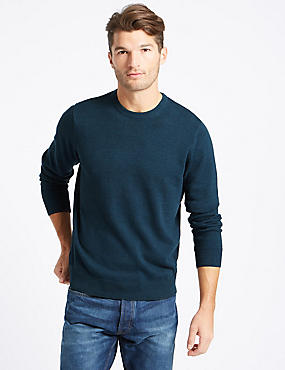 Pure Cotton Crew Neck Jumper, MARINE, catlanding