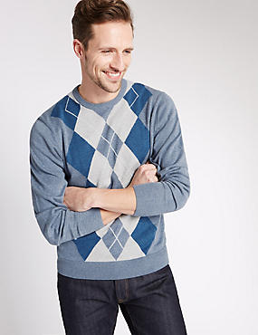 Pure Cotton Argyle Crew Neck Jumper