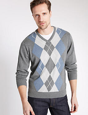 Pure Cotton Argyle V-Neck Jumper