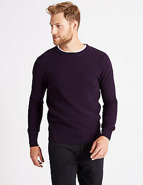 Pure Cotton Crew Neck Jumper, PURPLE MIX, catlanding