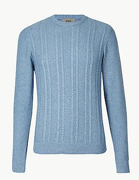 Pure Cotton Cable Knit Jumper, DENIM, catlanding