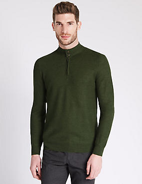Merino Wool Blend Textured Half Zip Jumper
