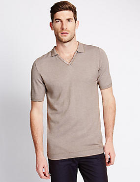 Tailored Fit Birdseye Trophy Neck Knitted Polo Shirt