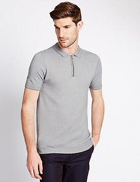 Birdseye Zip Through Neck Knitted Polo Shirt