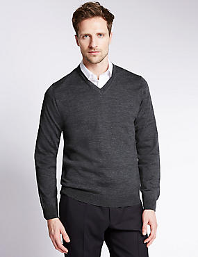 Merino Wool Rich Slim Fit V-Neck Jumper with Silk