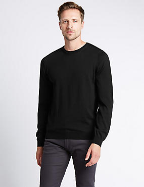 Merino Wool Crew Neck Jumper with Silk