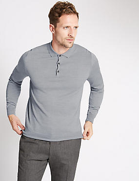 Merino Wool Blend Slim Fit Polo Shirt
