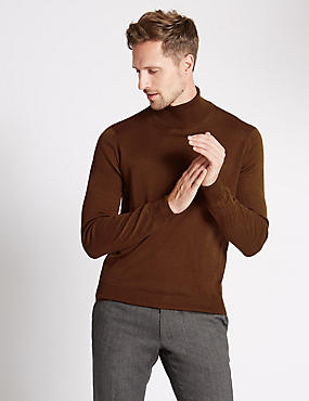 Merino Wool Blend Slim Fit Roll Neck Jumper