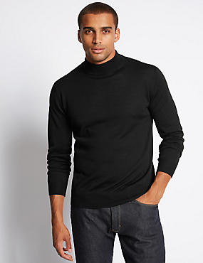 Merino Wool Blend Roll Neck Jumper