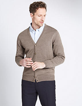 Merino Wool Blend Tailored Fit Cardigan