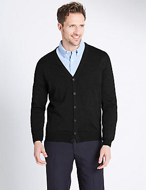 Merino Wool Blend Slim Fit Cardigan