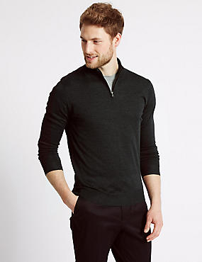 Merino Wool Blend Zipped Jumper