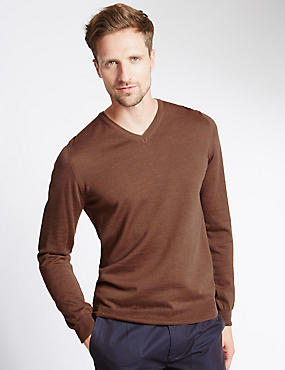 Merino Wool Slim Fit Jumper with Silk