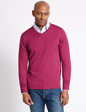 Pure Merino Wool V-Neck Jumper, , catlanding