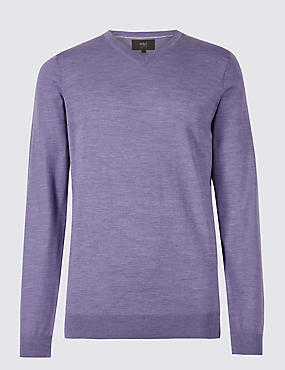 Pure Merino Wool V-Neck Jumper, LIGHT LILAC, catlanding