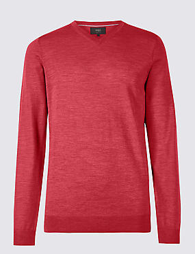 Pure Merino Wool V-Neck Jumper, ROSE, catlanding