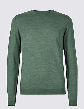 Pure Merino Wool Crew Neck Jumper, AVOCADO, catlanding