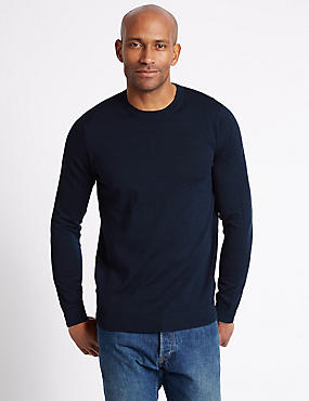 Pure Merino Wool Crew Neck Jumper, NAVY, catlanding