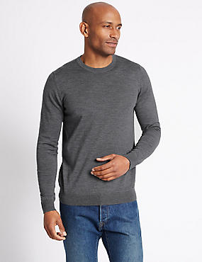 Pure Merino Wool Crew Neck Jumper, GREY, catlanding