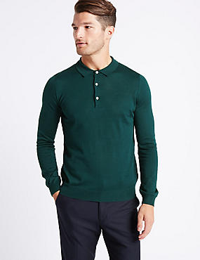 Merino Wool Blend Polo Shirt