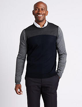 Merino Wool Blend Colour Block Jumper