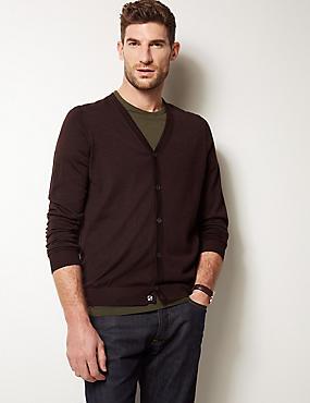 Pure Merino Wool Cardigan, AUBERGINE, catlanding