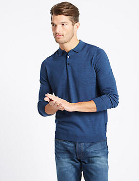Pure Merino Wool Knitted Polo, DENIM, catlanding