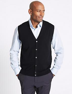 Pure Merino Wool Slipover Cardigan, NAVY, catlanding