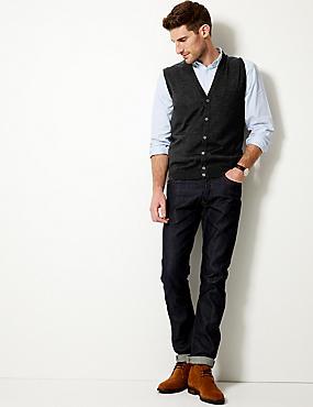 Pure Merino Wool Slipover Cardigan, CHARCOAL, catlanding