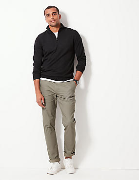 Pure Merino Wool Half Zipped Jumper, CHARCOAL, catlanding