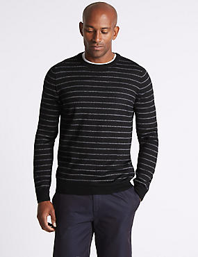 Merino Wool Blend Striped Jumper