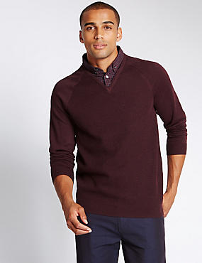 Cotton Blend Textured Mock Shirt