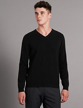 Pure Cashmere V-Neck Jumper, BLACK, catlanding