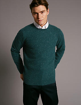 Pure Cashmere Textured Crew Neck Jumper