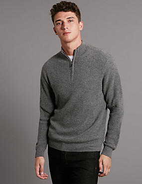 Pure Cashmere Half Zip Textured Jumper
