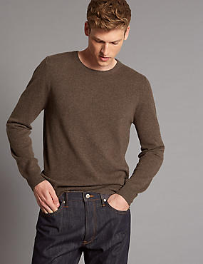 Pure Cashmere Crew Neck Jumper, NEUTRAL, catlanding
