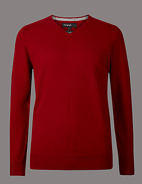 Pure Cashmere V-Neck Jumper, RED, catlanding